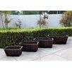 4-Piece Cedar Barrel Planter Set - Finish: Burnt Brown - Shine Company Inc. Planters