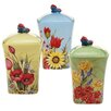 Certified International Floral Bouquet 3-Piece Canister Set