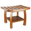 Oceanstar Design Solid Wood Spa Shower Bench with Storage Shelf