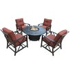 Oakland Living Charleston 5 Piece Fire Pit Seating Group with Cushions