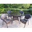 Oakland Living Resin Wicker 5 Piece Dining Set