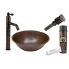 Premier Copper Products Round Wired Rimmed Vessel Sink with Single Handle Faucet and Drain