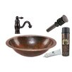 Premier Copper Products Oval Under Counter Sink with Single Handle Faucet and Drain