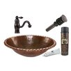 Premier Copper Products Oval Roped Rim Self Rimming Sink with Single Handle Faucet and Drain