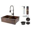 "Premier Copper Products 33"" x 22"" Apron Double Basin Kitchen Sink with Faucet"