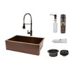 "Premier Copper Products 33"" x 22"" Apron Single Basin Kitchen Sink with Faucet"