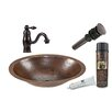 Premier Copper Products Small Oval Under Counter Sink with Single Handle Faucet and Drain