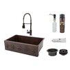 """Premier Copper Products Fleur De Lis 33"""" x 22"""" Apron Single Basin Kitchen Sink with Faucet"""