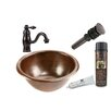 Premier Copper Products Small Round Self Rimming Sink with Single Handle Faucet and Drain
