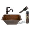 Premier Copper Products Rectangle Sink with Single Handle Faucet and Drain