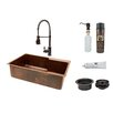 """Premier Copper Products 33"""" x 22"""" Single Basin Kitchen Sink with Faucet"""