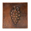 "Premier Copper Products 4"" x 4"" Hammered Copper Grape Tile in Oil Rubbed Bronze"