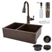 "Premier Copper Products 33"" x 22"" Hammered Apron Kitchen Sink"