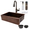 """Premier Copper Products 35"""" x 22"""" Hammered Apron Single Basin Kitchen Sink with ORB Pull Down Faucet, Drain and Accessories"""