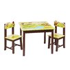 Guidecraft Jungle Party Kids 3 Piece Rectangle Table and Chair Set