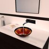 Vigo Fusion Glass Vessel Bathroom Sink with Titus Wall Mount Faucet