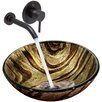 Vigo Zebra Glass Vessel Bathroom Sink and Olus Wall Mount Faucet with Pop Up