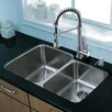 Vigo 32 inch Undermount 60/40 Double Bowl 18 Gauge Stainless Steel Kitchen Sink with Edison Stainless Steel Faucet, Two Grids, Two Strainers and Soap Dispenser