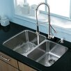 "Vigo Platinum 32"" x 20.75"" Undermount Stainless Steel Kitchen Sink with Faucet"