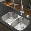 """Vigo 32.25"""" x 18.5"""" Undermount Stainless Steel 18 Gauge Double Bowl Kitchen Sink"""