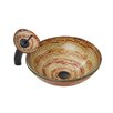 Vigo Mocha Swirl Glass Vessel Bathroom Sink and Waterfall Faucet with