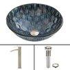Vigo Rio Glass Vessel Bathroom Sink and Duris Vessel Faucet with Pop Up