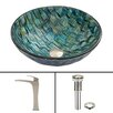 Vigo Oceania Glass Vessel Bathroom Sink and Blackstonian Vessel Faucet with Pop Up