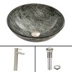 Vigo Titanium Glass Vessel Bathroom Sink and Shadow Vessel Faucet with Pop Up