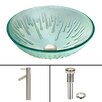 Vigo Icicles Glass Vessel Bathroom Sink and Dior Vessel Faucet with Pop Up