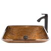 Vigo Rectangular Amber Sunset Glass Vessel Bathroom Sink and Linus Vessel Faucet with Pop Up