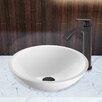 Vigo Phoenix Flat Edged Stone Glass Vessel Bathroom Sink and Linus Faucet Set