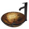 Vigo Copper Shapes Glass Vessel Bathroom Sink and Seville Vessel Faucet with  Matte Black