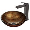 Vigo Amber Sunset Glass Vessel Bathroom Sink and Blackstonian Vessel Faucet with Pop Up