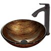 Vigo Amber Sunset Glass Vessel Bathroom Sink and Linus Vessel Faucet with Pop Up