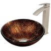 Vigo Kenyan Twilight Glass Vessel Bathroom Sink and Duris Vessel Faucet with Pop Up