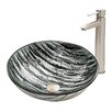 Vigo Rising Moon Glass Vessel Bathroom Sink and Shadow Vessel Faucet with Pop Up