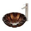 Vigo Walnut Shell Glass Vessel Bathroom Sink and Shadow Vessel Faucet with Pop Up