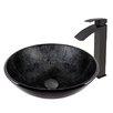 Vigo Gray Onyx Glass Vessel Bathroom Sink and Duris Vessel Faucet with  Matte Black