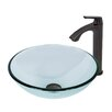 Vigo Crystalline Glass Vessel Bathroom Sink and Linus Vessel Faucet with Pop Up