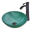 Vigo Whispering Wind Glass Vessel Bathroom Sink and Otis Vessel Faucet with  Matte Black