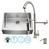Vigo 30 inch Farmhouse Apron Single Bowl 16 Gauge Stainless Steel Kitchen Sink with Zurich Stainless Steel Faucet, Grid, Strainer and Soap Dispenser