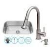 Vigo 30 inch Undermount Single Bowl 18 Gauge Stainless Steel Kitchen Sink with Harrison Stainless Steel Faucet, Grid, Strainer and Soap Dispenser