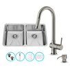 Vigo 29 inch Undermount 50/50 Double Bowl 16 Gauge Stainless Steel Kitchen Sink with Gramercy Stainless Steel Faucet, Two Grids, Two Strainers and Soap Dispenser