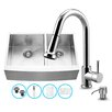 Vigo 33 inch Farmhouse Apron 60/40 Double Bowl 16 Gauge Stainless Steel Kitchen Sink with Harrison Chrome Faucet, Two Grids, Two Strainers and Soap Dispenser