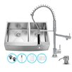 Vigo 33 inch Farmhouse Apron 60/40 Double Bowl 16 Gauge Stainless Steel Kitchen Sink with Zurich Chrome Faucet, Two Grids, Two Strainers and Soap Dispenser