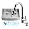 Vigo 36 inch Farmhouse Apron 60/40 Double Bowl 16 Gauge Stainless Steel Kitchen Sink with Harrison Chrome Faucet, Two Grids, Two Strainers and Soap Dispenser