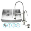 Vigo 33 inch Farmhouse Apron 60/40 Double Bowl 16 Gauge Stainless Steel Kitchen Sink with Dresden Stainless Steel Faucet, Two Grids, Two Strainers and Soap Dispenser