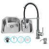 Vigo 31 inch Undermount 70/30 Double Bowl 18 Gauge Stainless Steel Kitchen Sink with Edison Chrome Faucet, Two Grids, Two Strainers and Soap Dispenser