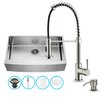 Vigo 36 inch Farmhouse Apron Single Bowl 16 Gauge Stainless Steel Kitchen Sink with Edison Stainless Steel Faucet, Grid, Strainer and Soap Dispenser