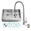 """Vigo All in One 36"""" x 22.25"""" Farmhouse Double Bowl Kitchen Sink and Faucet Set"""